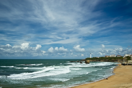 Beautiful sky over the town of Biarritz, France Stock Photo