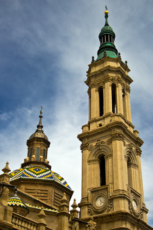zaragoza: tower of Basilica at Zaragoza, Spain