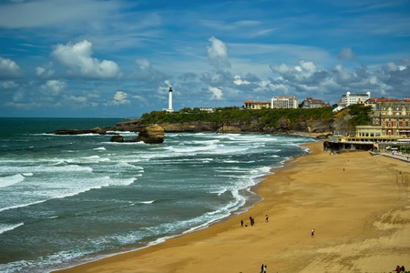 Beautiful sky over the town of Biarritz, France photo