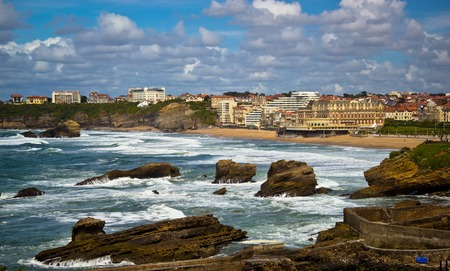 Beautiful sky over the town of Biarritz, France Фото со стока