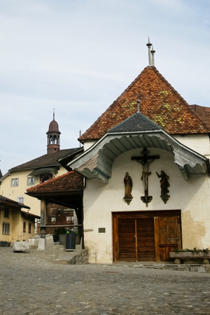 gruyere: old church in Gruyere village, Switzerland