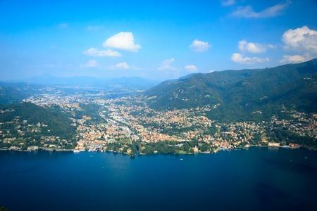 orta: panoramic view of beautiful Como lake from above