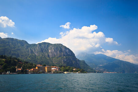panoramic view of beautiful Como lake from above photo