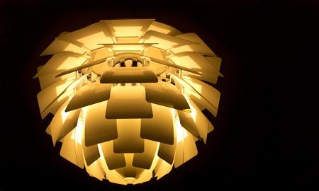beautiful illuminated modern lamp of danish design Stock Photo - 29213754