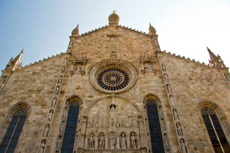 facede of Cathedral in Como city, Lombardy, Italy photo