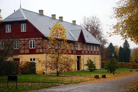 sigulda: old house in Besrnstoff park Stock Photo