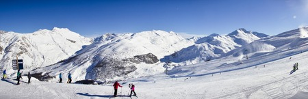 stunning view of skiing resort in Alps. Livigno, Italy Stock Photo