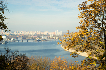 dnipro: beautiful view over Dnipro river in Kiev, Ukraine Stock Photo