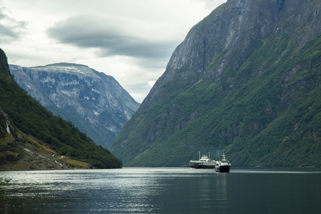 fjord: view from Gudvangen village towards fjord, Norway