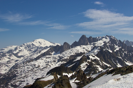 aiguille: Peaks in snow and glacier of Mont Blanc, Chamonix