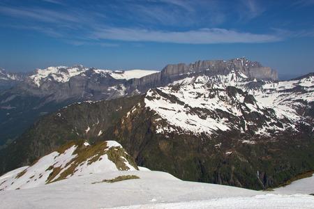 blanc: Peaks in snow and glacier of Mont Blanc, Chamonix