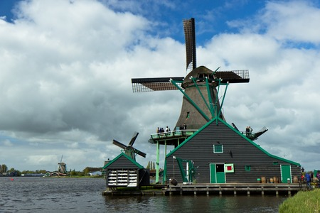 schans: Windmills of the Zaanse Schans, small town near Amsterdam
