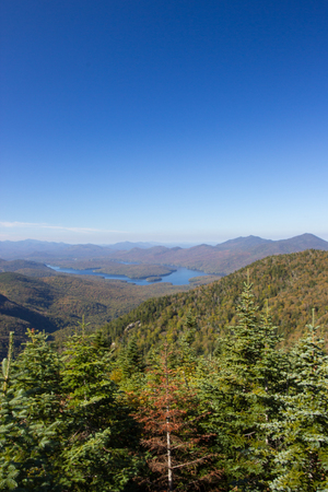 placid: Lake Placid view from top of Whiteface Mountain, New Tork, USA