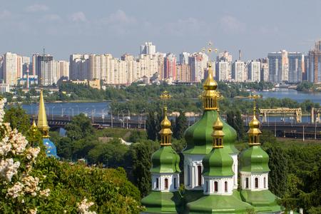 Lilac bushes with Vidubichi monastery, Kiev the capital of Ukraine.