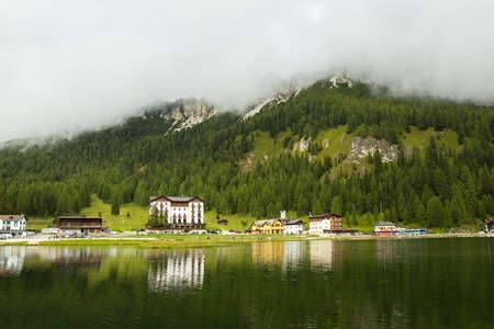 view of amazing Misurina lake in south Tirol, Italy