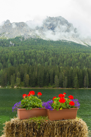 view of amazing Misurina lake in Italy Stock Photo