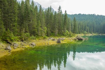 Beautiful Lake of Carezza in Dolomites Alps, Italy