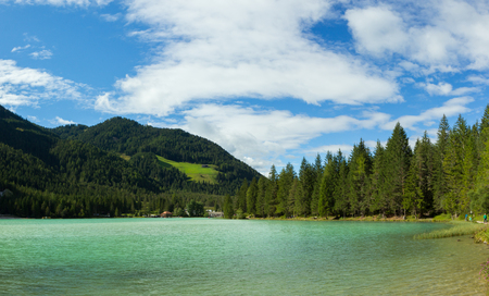 view of amazing Durrensee lake in south Tirol, Italy Stock Photo