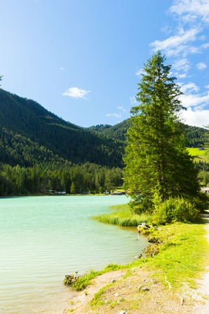 view of amazing Durrensee lake in south Tirol, Italy Banco de Imagens