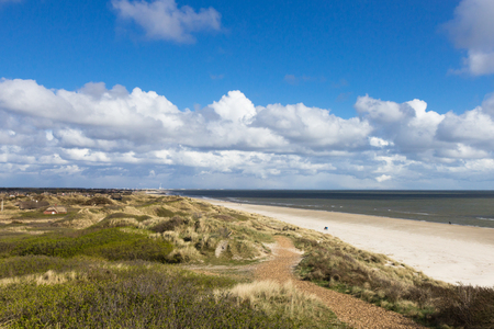 Sandy beach of Southern Jutland, near Esbjerg, Denmark 免版税图像