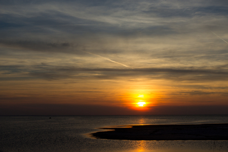 Sunset over the north sea, Northern Jutland, Denmark