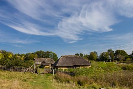Old viking houses in museum in Lejre, Denmark