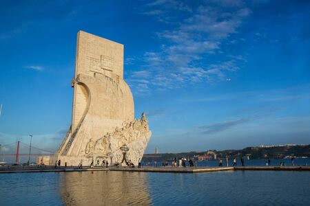 Lisbon, Belem, Portugal May 1, 2014: Padrao dos Descobrimentos - Monument to the Discoveries. The monument was conceived in 1939 by Portuguese architect Jose Angelo Cottinelli Telmo
