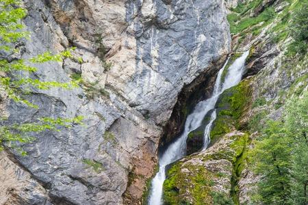 Famous Savica waterfall in Triglav National Park, Julian Alps, Slovenia 免版税图像
