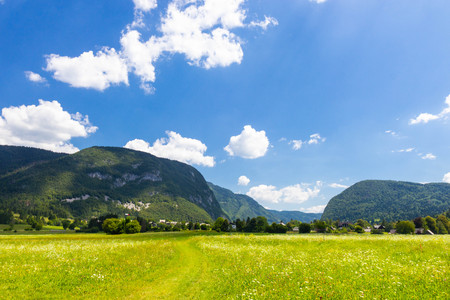 Summer sunny scene of mountains in Triglav National Park in Slovenia