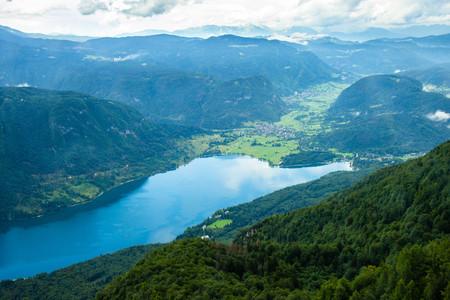 View of Bohinj lake from Vogel cable car, Triglav National park, Slovenia