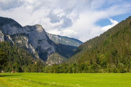 Zomers uitzicht op de Logar-vallei in het Kamnik-gebergte, Slovenië Stockfoto