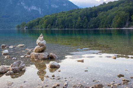 Pyramid of stones at Bohinj lake, Triglav National park, Slovenia