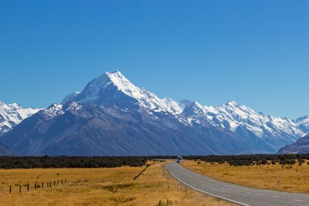 road to Aoraki National Park, Mount Cook, New Zealand