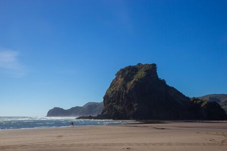 view of Piha beach, west of Auckland, New Zealand