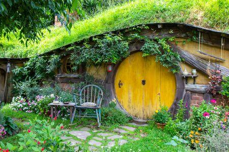2017, May 2nd, Hobbiton movie set in Matamata, New Zealand - Front door of the hole, Hobbit house Editorial