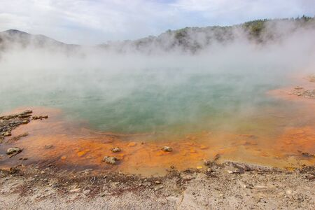 Champagne Pool in Wai-o-tapu an active geothermal area, North island, New Zealand