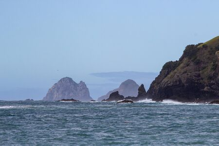 view from boat of Bay of Islands, North island, New Zealand