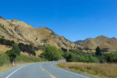 Scenic road in Canterbury area, south island, New Zealand