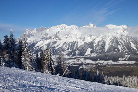 View of Austrian Alps in winter time