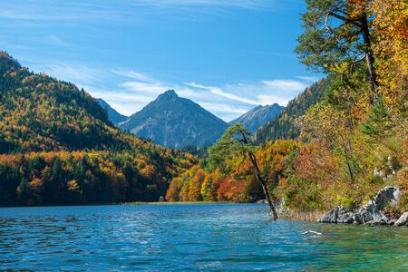 view of Alpsee lake in Bavaian Alps near Schwangau, Germany