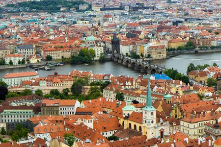 arerial view of the roofs of Prague old town, Czech Republic