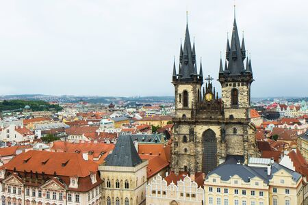 Aerial view of famous square in old town of Prague