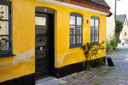 old yellow houses of old fisherman town Dragor, Denmark