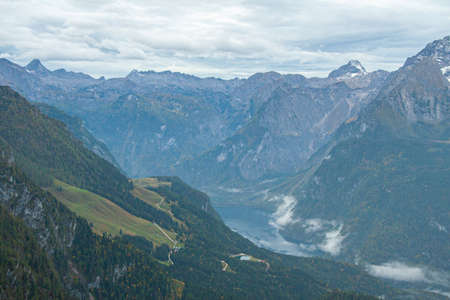 Aerial view of Koenigsee from Eagle Nest, Bavaria. Germany