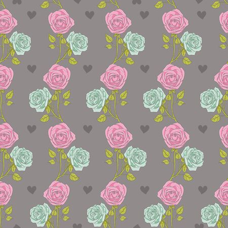 Beautiful Seamless color rose pattern on heart background, vector illustration Vector