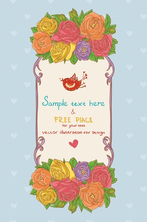rosa: Greating card with flowers Illustration