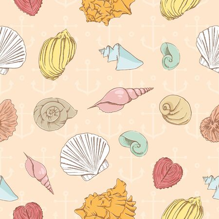 oyster: Seamless pattern with marine seashells