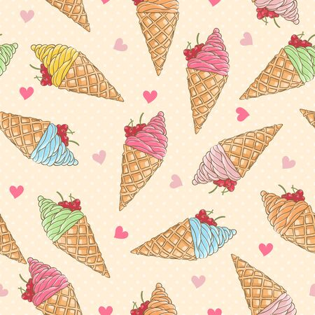 Colorful ice-cream seamless pattern Vector