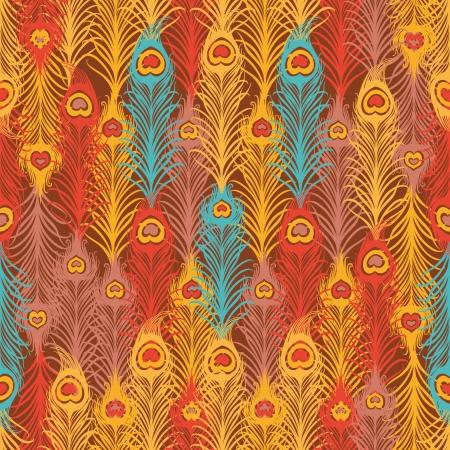 piuma di pavone: Seamless pattern con piuma d'epoca Vettoriali