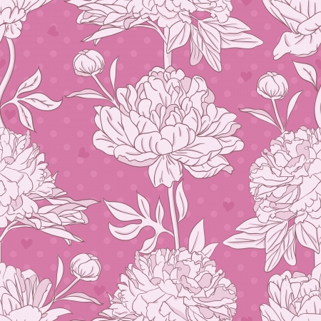 Floral seamless pattern with peonies Vector